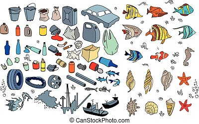 Different kinds of garbage in oceans, sea. Destraction of...