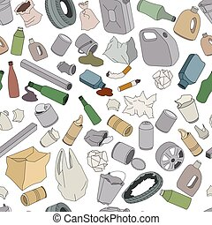 Different kinds of garbage. Seamless pattern