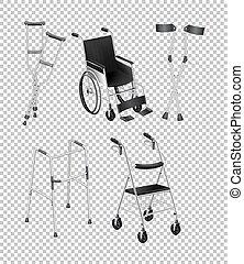 Different kinds of handicap equipments illustration