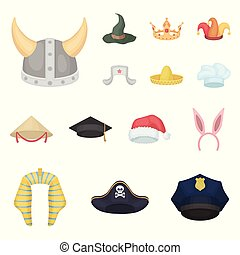 Different kinds of hats cartoon icons in set collection for design.Headdress vector symbol stock web illustration.