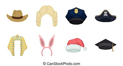 Different kinds of hats icons in set collection for design.Headdress vector symbol stock web illustration.