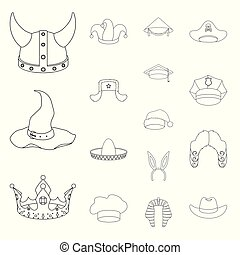 Different kinds of hats outline icons in set collection for design.Headdress vector symbol stock web illustration.