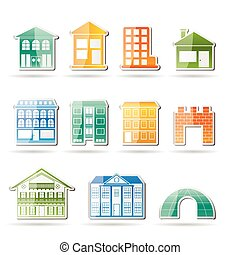 different kinds of houses and buildings - Vector...