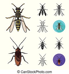 Different kinds of insects cartoon, black, flat, monochrome, outline icons in set collection for design. Insect arthropod vector symbol stock web illustration.