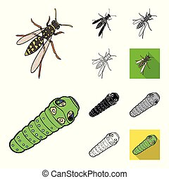 Different kinds of insects cartoon, black, flat, monochrome, outline icons in set collection for design. Insect arthropod vector isometric symbol stock web illustration.