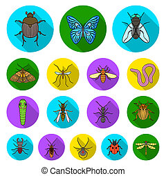 Different kinds of insects flat icons in set collection for design. Insect arthropod bitmap symbol stock web illustration.
