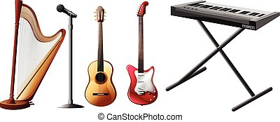 Different kinds of musical instruments illustration