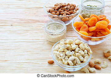 different kinds of nuts on the table