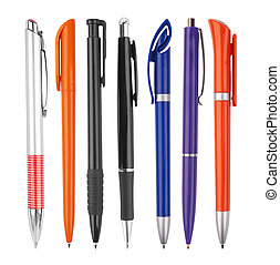 Different kinds of pens isolated on white background