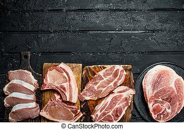 Different kinds of pork meat.