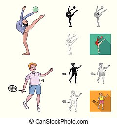 Different kinds of sports cartoon, black, flat, monochrome, outline icons in set collection for design. Athlete, competitions vector symbol stock web illustration.