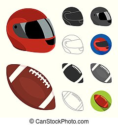 Different kinds of sports cartoon, black, flat, monochrome, outline icons in set collection for design. Sport equipment vector symbol stock web illustration.