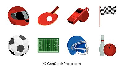Different kinds of sports icons in set collection for design. Sport equipment vector symbol stock web illustration.