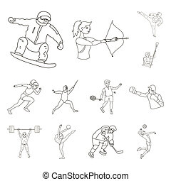 Different kinds of sports outline icons in set collection for design. Athlete, competitions bitmap symbol stock web illustration.