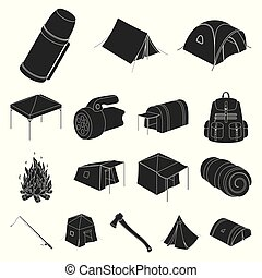 Different kinds of tents black icons in set collection for...