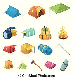 Different kinds of tents cartoon icons in set collection for...