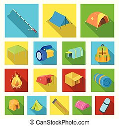 Different kinds of tents flat icons in set collection for...
