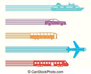 Different kinds of transport. Vector illustration