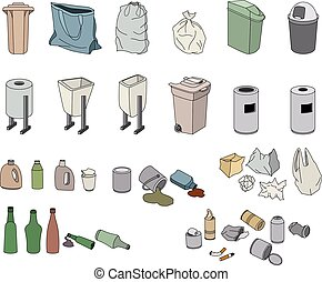Different kinds of waste and varios