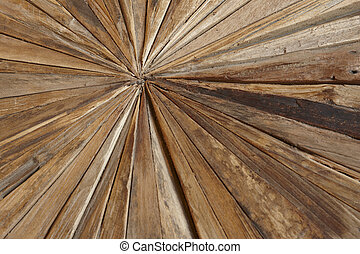 Different kinds of woodchips in a geometric shape. Horizontal format