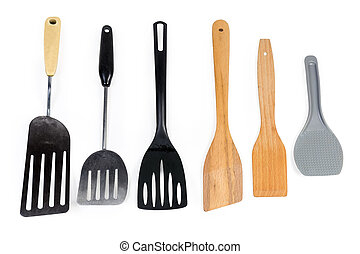 Different kitchen spatulas on a white background