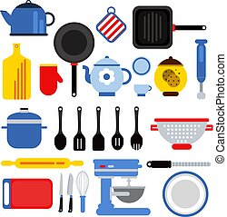 Different kitchen tools set isolated on white. Vector illustrations in modern flat style
