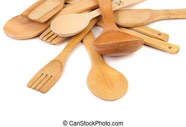 different kitchen wooden utensils cutlery close up