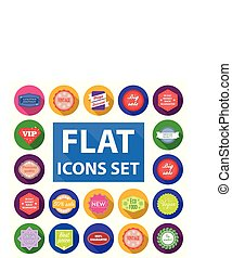Different label flat icons in set collection for design....