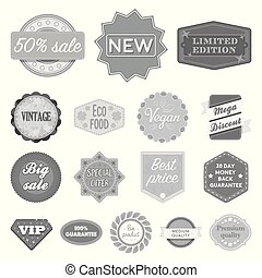 Different label monochrome icons in set collection for...