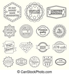 Different label outline icons in set collection for design....