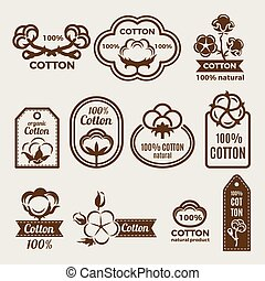 Different labels set with stylized illustrations of cottons. Design template of vector badges for clothes