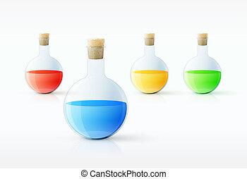 Different  laboratory glassware with color liquid and transparen