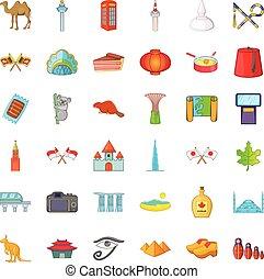 Different landmark icons set, catoon style - Different...