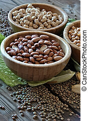 different legumes - three different types of vegetables in...