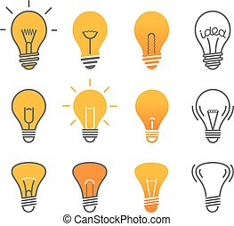Different light bulb isolated on white vector illustration set. Light lamps icon