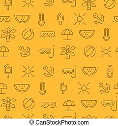 Different line style icons seamless pattern, summer