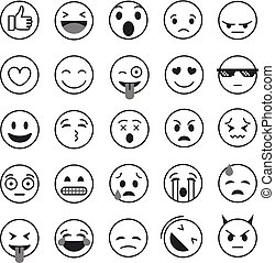 Different lineart emoji collection vector set