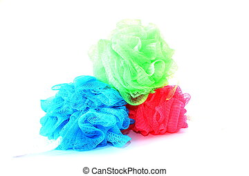 Different Loofahs - Isolated loofahs with different colors