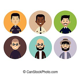 different man face people style circle icons