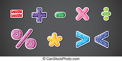 Illustration of the different mathematical operation signs and symbols on a gray background