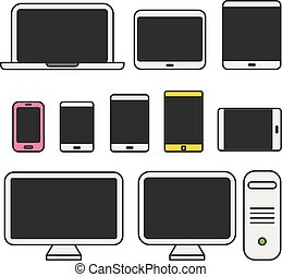 Different media devices collection. Flat design elements
