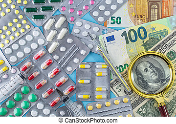 Different medicines and money. The rising cost of health care.