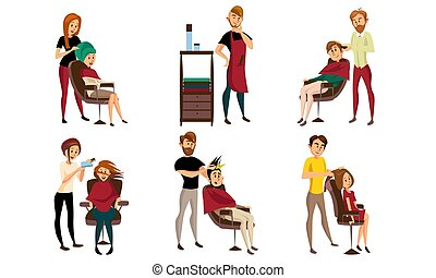Different men and women get their hair cut at the hairdresser. Vector illustration.