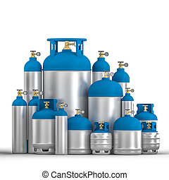 different metal cylinder container 3d rendering image