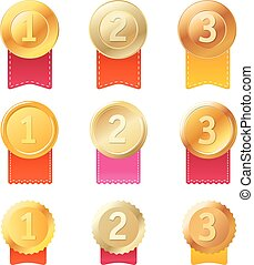 Different metal medals with color ribbons