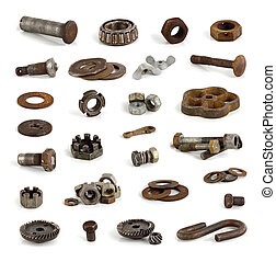Different metal parts and tools.