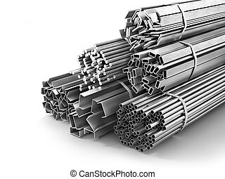 Different metal products. Metal profiles and tubes. 3d...