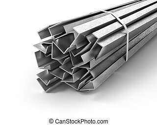 Different metal products. Profiles and tubes. 3d illustration