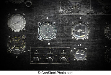 Different meters and displays in an old plane
