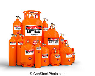 different methane cylinder container 3d rendering image